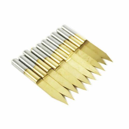 10pcs Titanium Coated Carbide PCB Engraving CNC Bit Router Tool 90 Degree 0.3mm