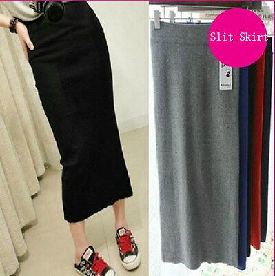 Women High Waist Open Slit Side Split Jersey Stretch Long Pencil Skirt Bodycon