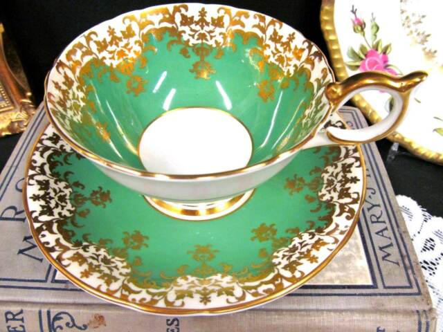 AYNSLEY tea cup and saucer Athens shape gold gilt & GREEN floral  teacup large