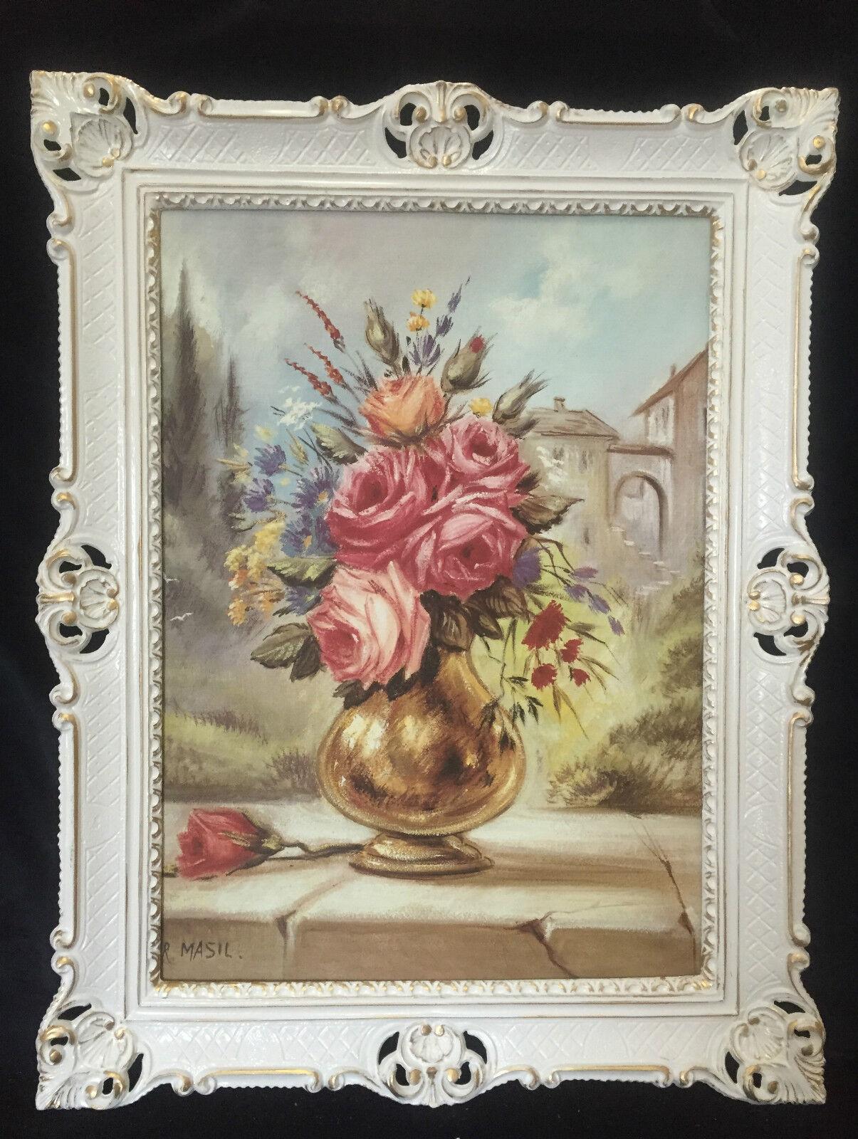 Cuadro Flores Cuadro 90x70 Cuadro con Marco roses en Dorada Búvoitureo Enmarcado B3