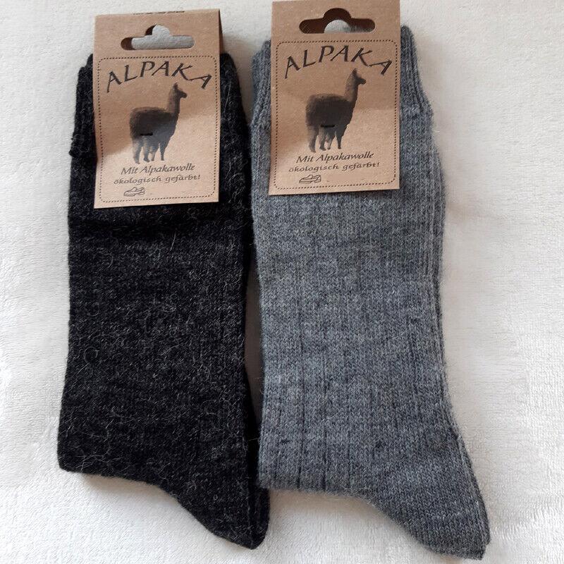 2 Paar Damen Soft Alpaka Socken 65%Schafwolle 35% Alpakawolle Grau 35 bis 42