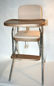 Vtg-High-Chair-Cosco-Mid-Century-Modern-Tray-Footrest-Vinyl-Gold-White-Cream