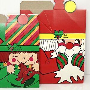 Christmas-Gift-Box-Set-of-2-Vintage-Japan-Cardboard-Santa-Girl-Dog
