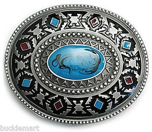 Indian-Native-American-Turquoise-Color-Belt-Buckle-western-turqoise-Hand-painted