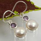 Real AMETHYST & PEARL Gemstones Handmade Earrings 925 Sterling Silver Wholesale