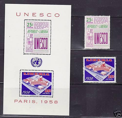 Liberia # 384 & C121-21a MNH Complete W/ SS UNESCO UN