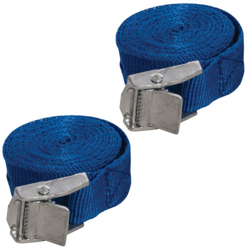 Silverline Set Of 2 Buckled Straps Tie Down Lashing Cam Buckle 2.5mm x 25mm