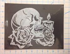 Skull Rose Candle mylar reusable stencil 10 mils for Airbrush design art & craft