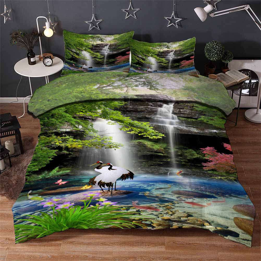 Crane Butterflies 3D Printing Duvet Quilt Doona Covers Pillow Case Bedding Sets
