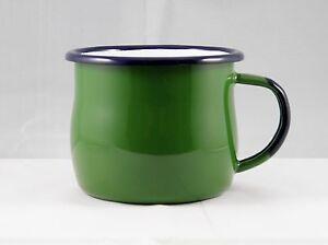 2x-Becher-Trinkbecher-Tasse-Kaffeebecher-Emaille-0-28-l-gruen-Email-a-Polen-neu