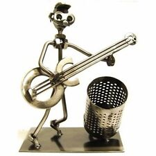 Creatively Sculpted Nuts & Bolts Guitar Player Pen Holder. Home & Office Decor.