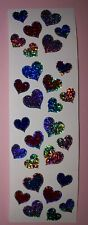 🦁💜Mrs Grossman's 4 Abrisse Jewel Hearts Glitzer Scrapbooking Sticker 💜🦁