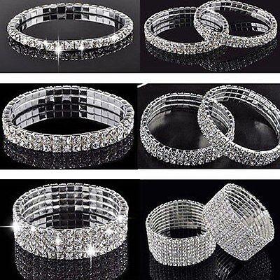 Crystal Rhinestone Stretch Bracelet Bangle Wedding Bridal Wristband Lady Gift