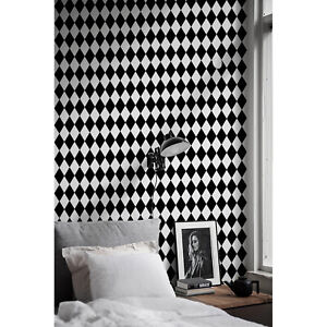 Details About Harlequin Geometric Pattern Modern Black White Non Woven Wallpaper Wall Mural