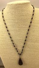Vintage Style Necklace Machu Pichu Coffee Jasper & Garnet Glass Tiny Bead