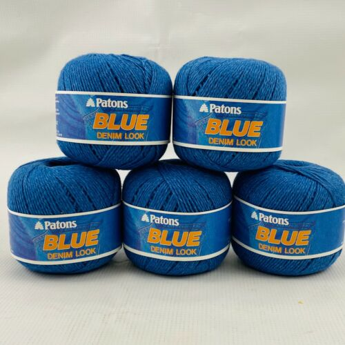 Patons Blue Denim Look Yarn Lot 5 Skeins 50g 114yds Color #6251 Cotton Polyester