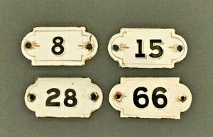 Old Vintage Antique Enamel Porcelain Sign House Numbers 1,4,7,8,9,10,26,28..