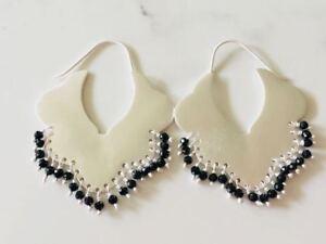 Genuine-925-Sterling-Silver-Gemstone-Earrings-Hoop-Ethnic-Boho-Tribal-Black-Onyx