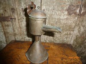 Antique Primitive Spout Lamp 18th C. Grease Lard Oil Lamp
