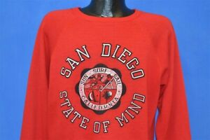 vintage-80s-SAN-DIEGO-STATE-OF-MIND-DISTRESSED-RED-RAGLAN-TOURIST-SWEATSHIRT-XL