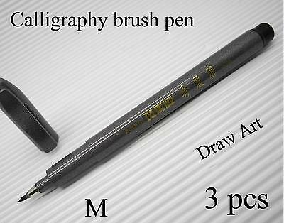 5pcs Zebra calligraphy brush pen gray FINE NIB draw art water based Black(Japan