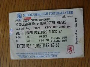 22082009 Ticket Middlesbrough v Doncaster Rovers  folded slightly marked - Birmingham, United Kingdom - Returns accepted within 30 days after the item is delivered, if goods not as described. Buyer assumes responibilty for return proof of postage and costs. Most purchases from business sellers are protected by the Consumer Contr - Birmingham, United Kingdom