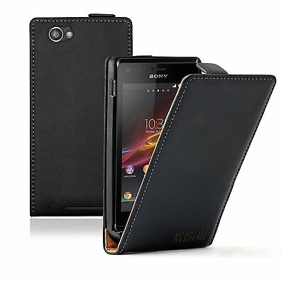 ULTRA SLIM Leather Case Cover for Sony Xperia M Dual C2004 / C2005 +2 PROTECTORS