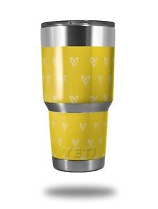 dccd865cb71 Details about Skin for Yeti Rambler 30oz Hearts Yellow On White TUMBLER NOT  INCLUDED
