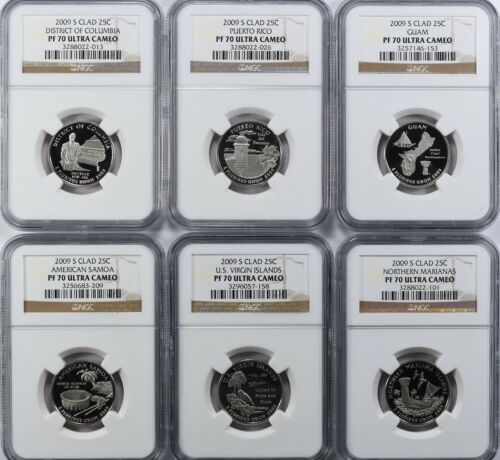 6 coins 2009-S CLAD PROOF QUARTERS SET NGC PF70 ULTRA CAMEO