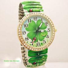 Shamrock Watch Clover Leaf Quartz Stretch Irish Green Ladybug Cubic Zirconia