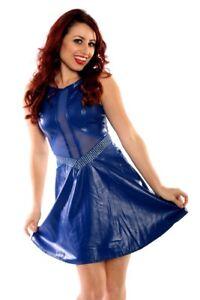 Oh-Yes-Faux-Leather-Rocker-Chick-Dress-Blue-Sexy-Dress-Stage-Dress-Club-Dress
