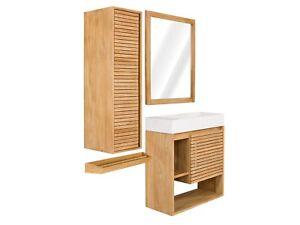 Badmobel Set 4teilig Massiv Holz Teak Waschtisch Badschranke