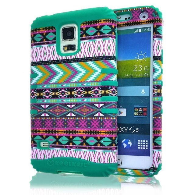 For Samsung Galaxy S5 - HARD&SOFT RUBBER HYBRID SKIN CASE TURQUOISE GREEN TRIBAL