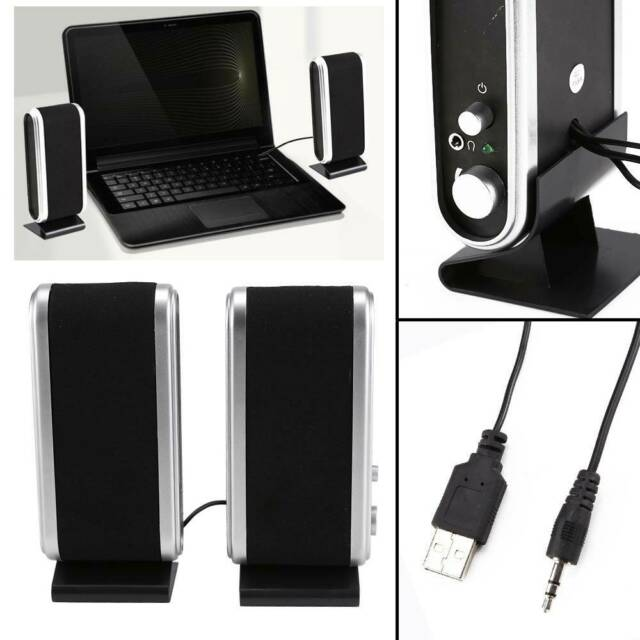 Black For PC Laptop Computer Desktop Portable USB Stereo Speakers System