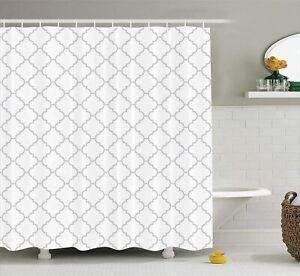 "84/"" Extra Long White Gray Geometric Moroccan Farmhouse Fabric Shower Curtain"