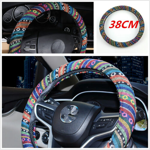 Folk-custom style Car Auto Steering Wheel Cover 38cm15/'/'Natural Fibers Anti Slip