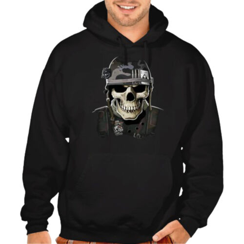 New Men/'s Military Skull Black Hoodie US Army Marines War Battle Bullets Sweater