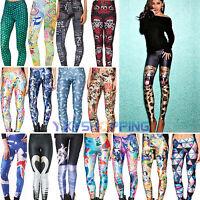 Women 3D Print Leggings Stretchy Slim Tight Pencil Pants Skinny Yoga Trousers