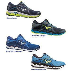 Mizuno Uomo Wave Sky 2 Scarpe Da Corsa Ginnastica Sport Sneakers Blu Traspiranti | eBay