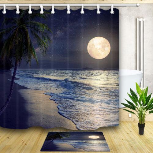 Beach Coconut Tree Full Moon Shower Curtain Home Bathroom Decor Fabric /& 12hooks