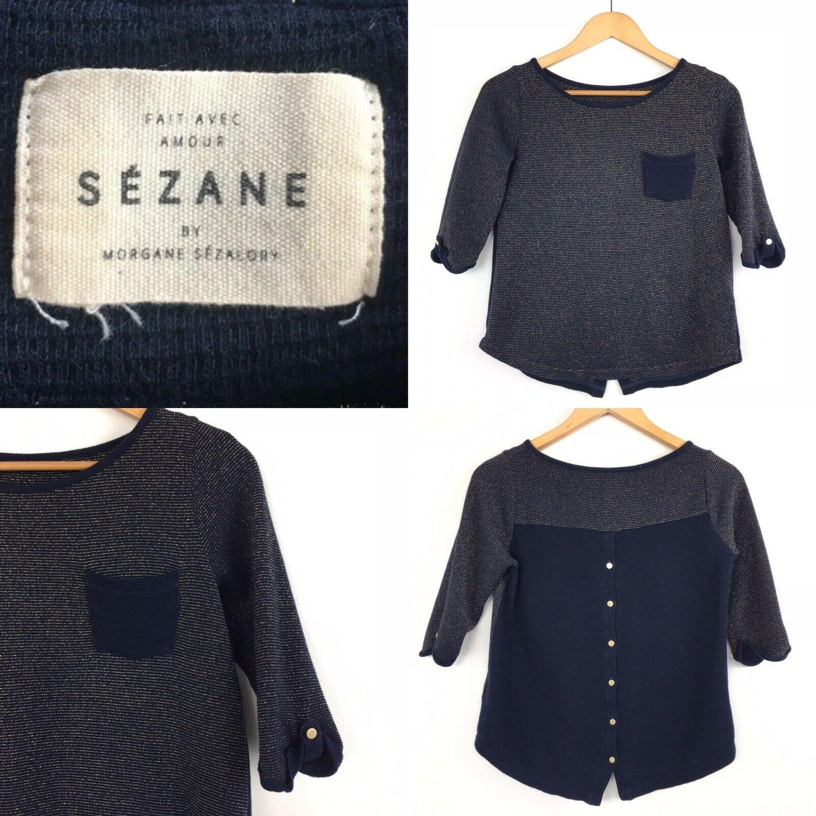 Sézane SEZANE bleu marine or Fil Tricot Pull Blogger Immaculée soldout XS 6