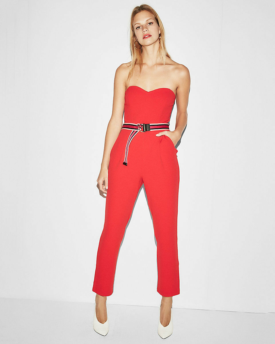NEW EXPRESS RED STRAPLESS SWEETHEART JUMPSUIT SZ 0