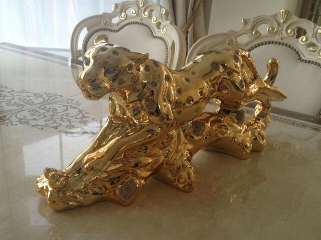 LUXURY CHEETA GOLD OR SILVER ORNAMENT NEW