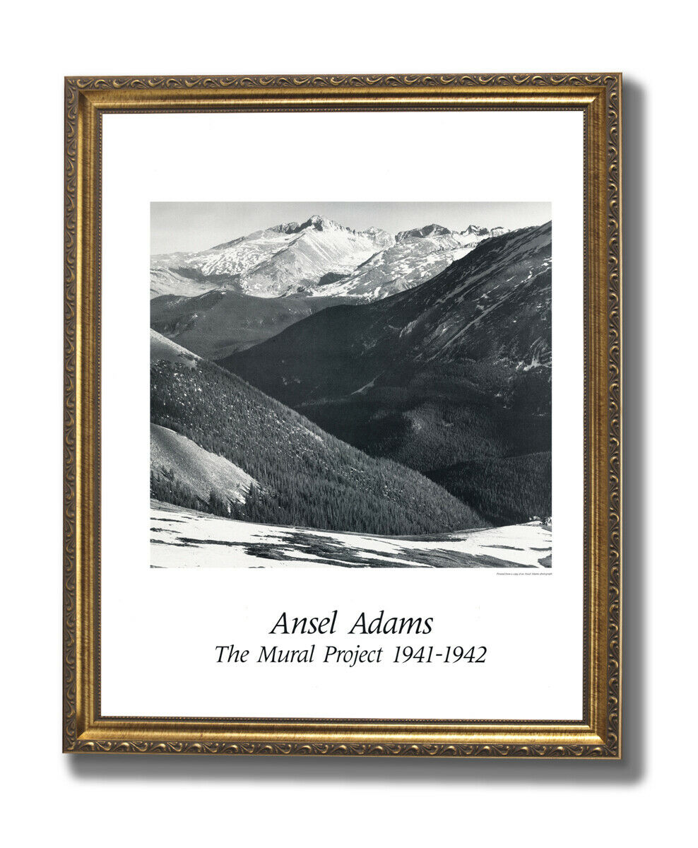 Ansel Adams Longs Peak B W Wall Picture oro Framed Art Print