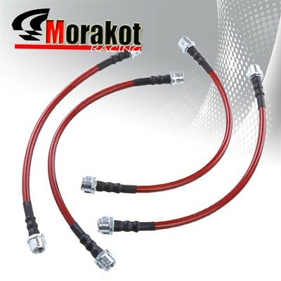 Corolla 84-87 AE86 Front /& Rear Braided Hose Oil Brake Line Kit Cable Red//Black