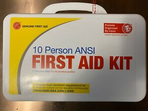 Genuine First Aid 10 Person ANSI First Aid Kit Eyewash kit Included Exp.01/2021
