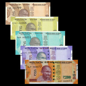 INDIA-SET-5-PCS-10-20-50-100-200-RUPEES-2017-2019-new-design-UNC