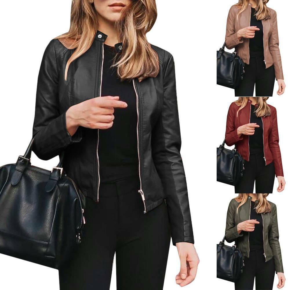 Ladies Casual Zip Up Faux Leather Jacket Biker Blazer Coat Women Outwear Tops