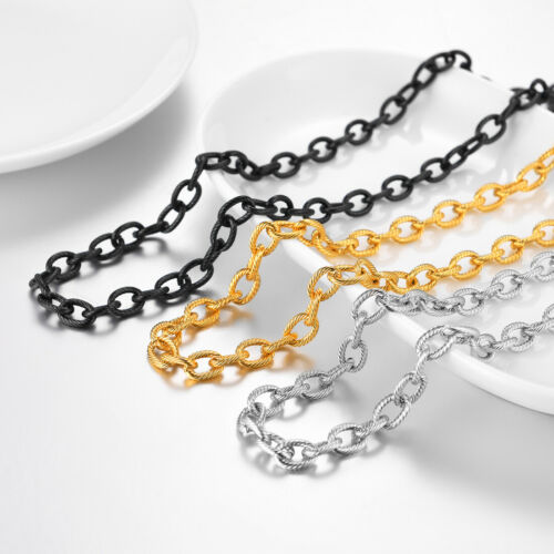 U7 Stainless Steel Men Jewelry 13MM Chunky Rolo Chain Biker Hip-Hop Necklace
