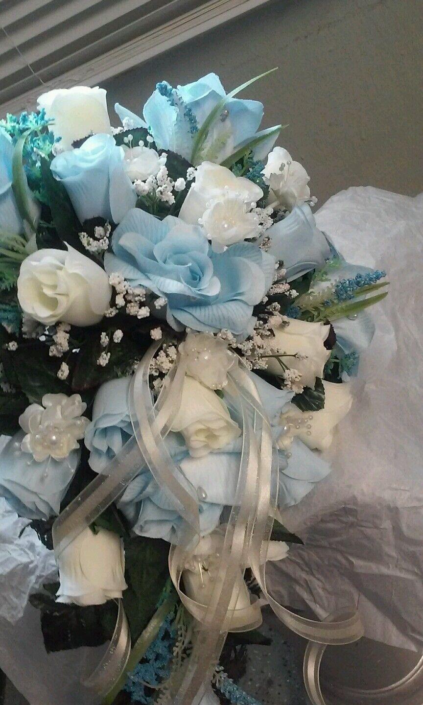 13 pc mariage paquet bleu clair et ivoire bouquets, bout et corsages